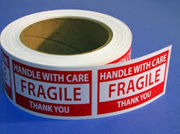 HANDLE WITH CARE - FRAGILE - THANK YOU (PRESSURE-SENSITIVE PAPER LABEL)