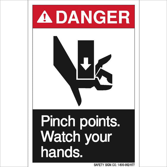 ANSI DANGER PINCH POINTS WATCH YOUR HANDS (STALAR® Vinyl Press On)