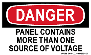 DANGER PANEL CONTAINS MORE THAN ONE SOURCE OF VOLTAGE (STALAR® Vinyl Press On)