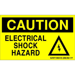CAUTION ELECTRICAL SHOCK HAZARD (STALAR® Vinyl Press On)