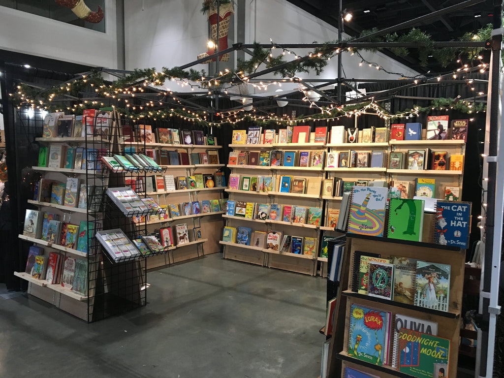 market stand with book journals