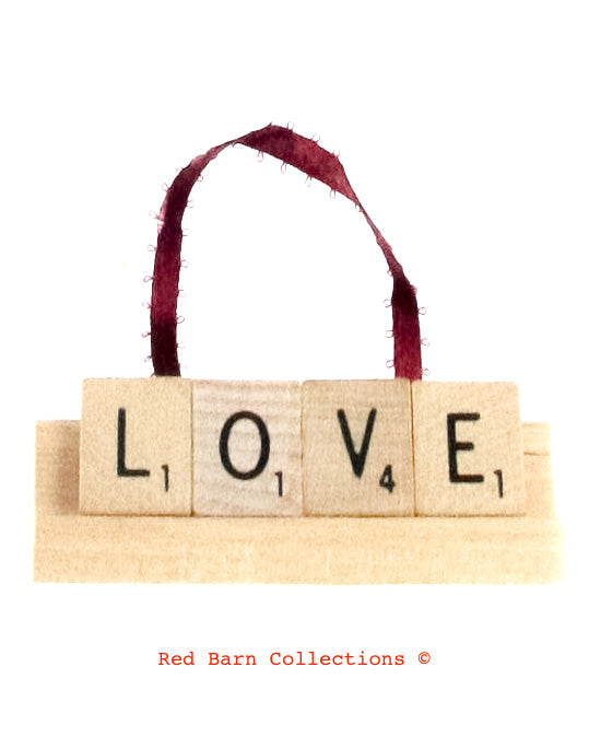 Love Scrabble Ornament-Red Barn Collections
