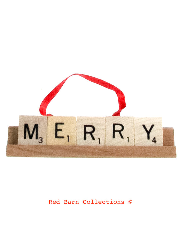 Merry Scrabble Ornament-Red Barn Collections