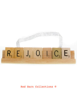 Rejoice Scrabble Ornament-Red Barn Collections