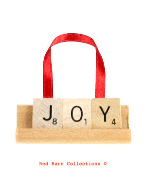 Joy Scrabble Ornament-Red Barn Collections