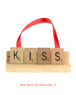 Kiss Scrabble Ornament-Red Barn Collections
