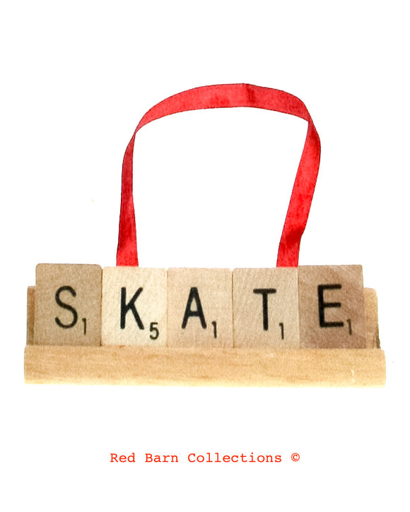 Skate Scrabble Ornament-Red Barn Collections