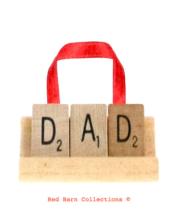 Dad Scrabble Ornament-Red Barn Collections
