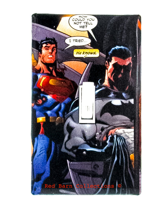 Batman and Superman Light Switch Cover-Red Barn Collections