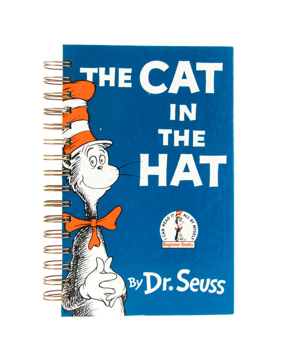 upcycled  book journal or notebook from Dr Seuss The Cat in the Hat used book