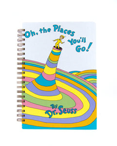 upcycled  book journal or notebook from Dr Seuss Oh the Places You'll Go used book
