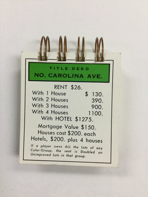 North Carolina Ave Monopoly Notepad-Red Barn Collections