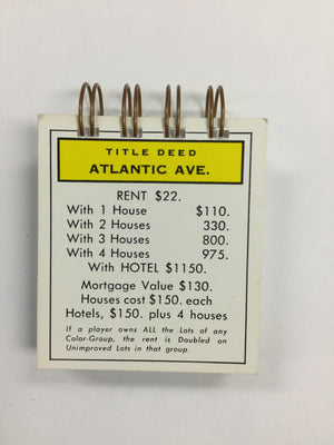 Atlantic Ave Monopoly Notepad-Red Barn Collections