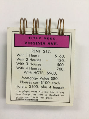 Virginia Ave Monopoly Notepad-Red Barn Collections