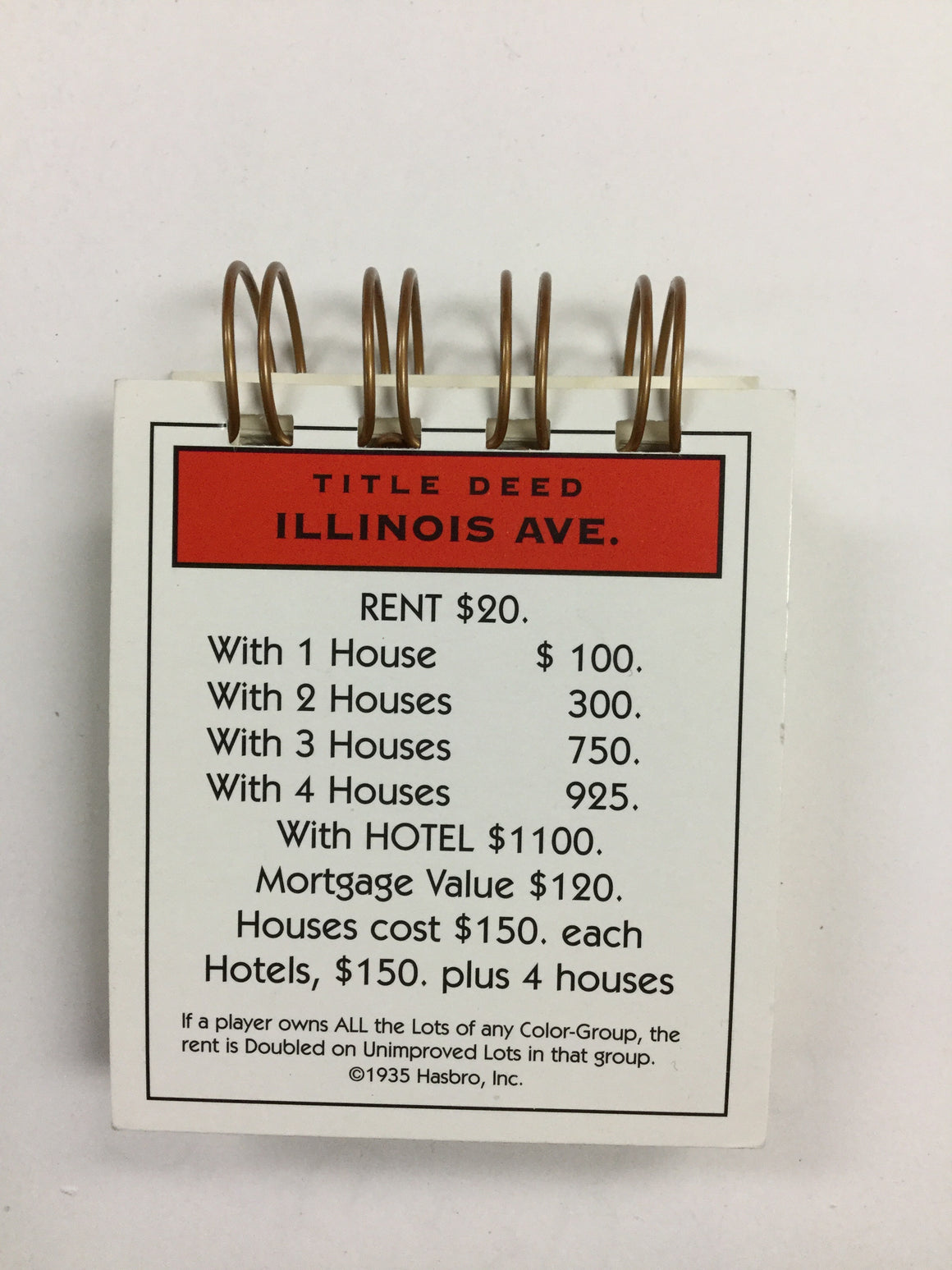 Illinois Ave Monopoly Notepad-Red Barn Collections