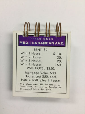 Mediterranean Ave Monopoly Notepad-Red Barn Collections