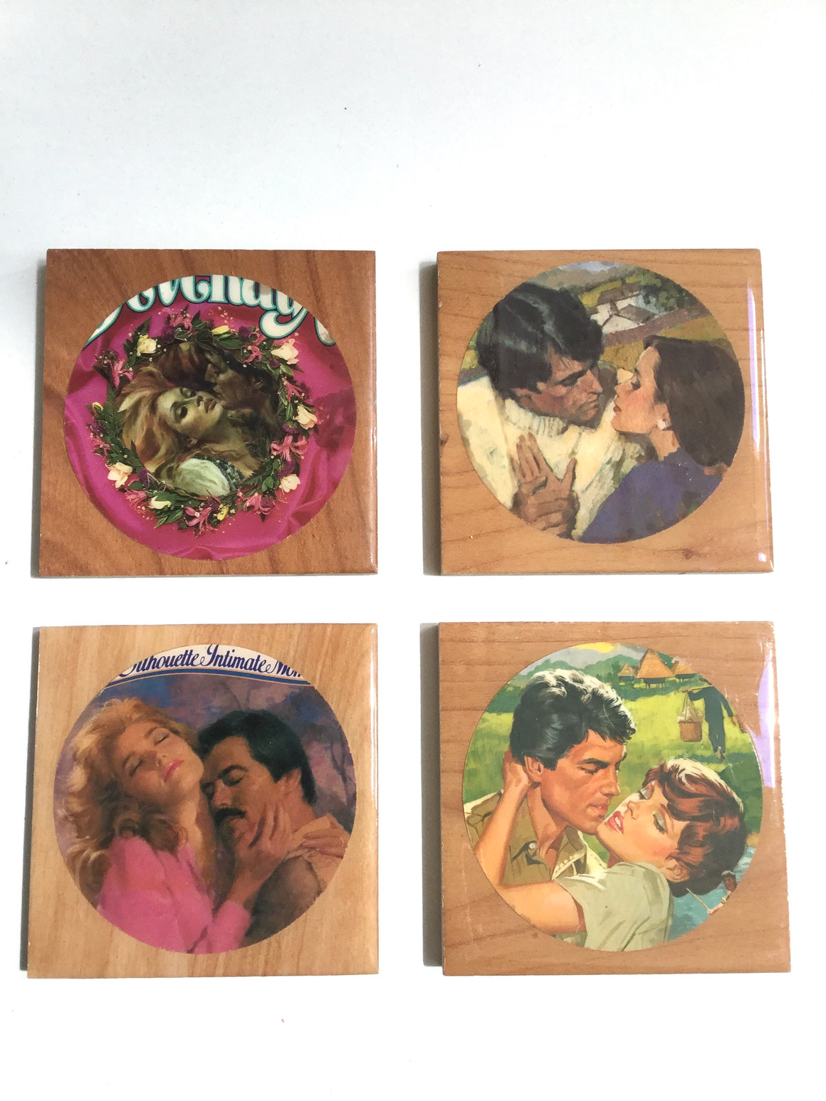 Romance Coasters, Vintage, Set of 4-Red Barn Collections