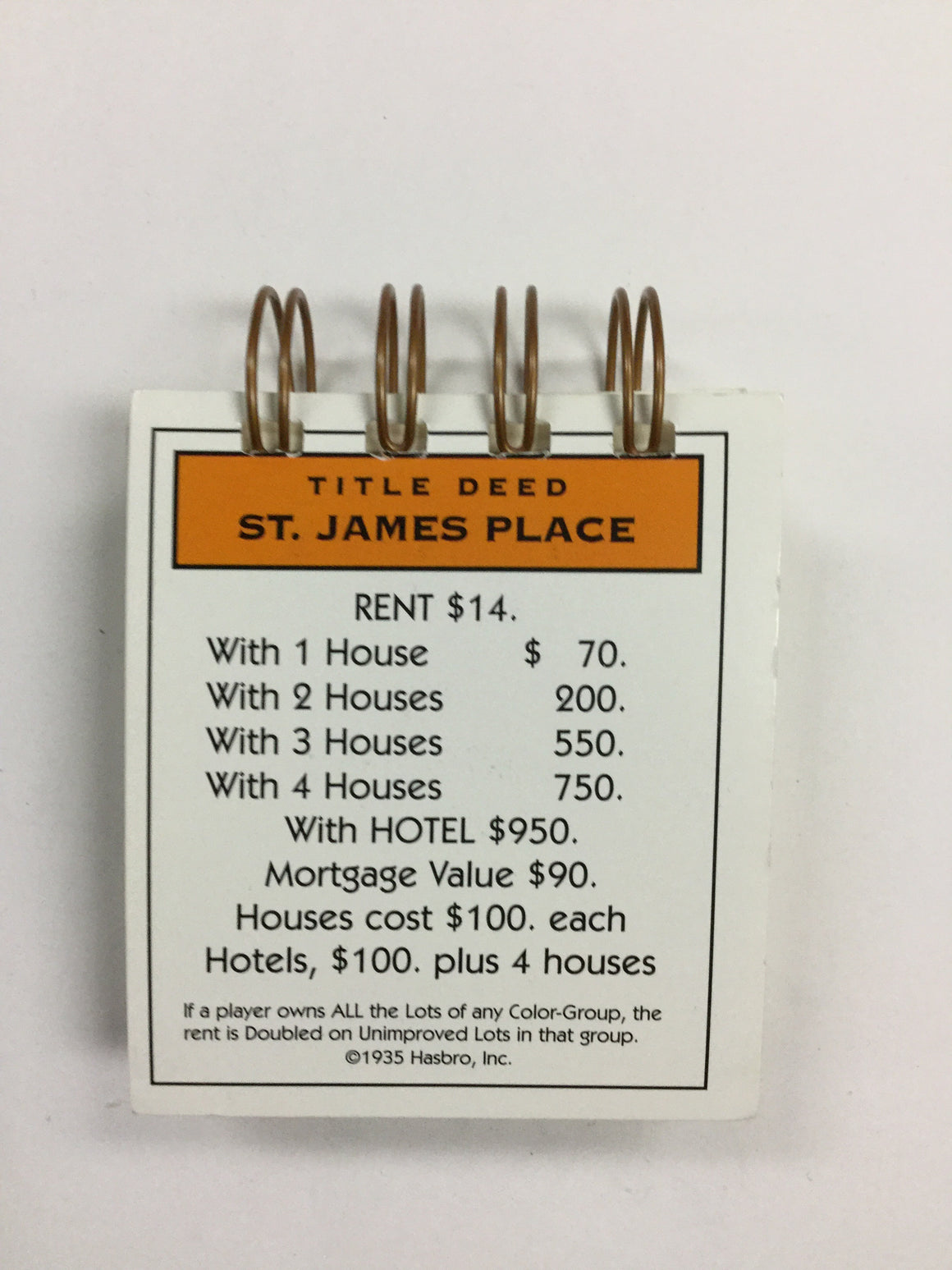 St James Place Monopoly Notepad-Red Barn Collections