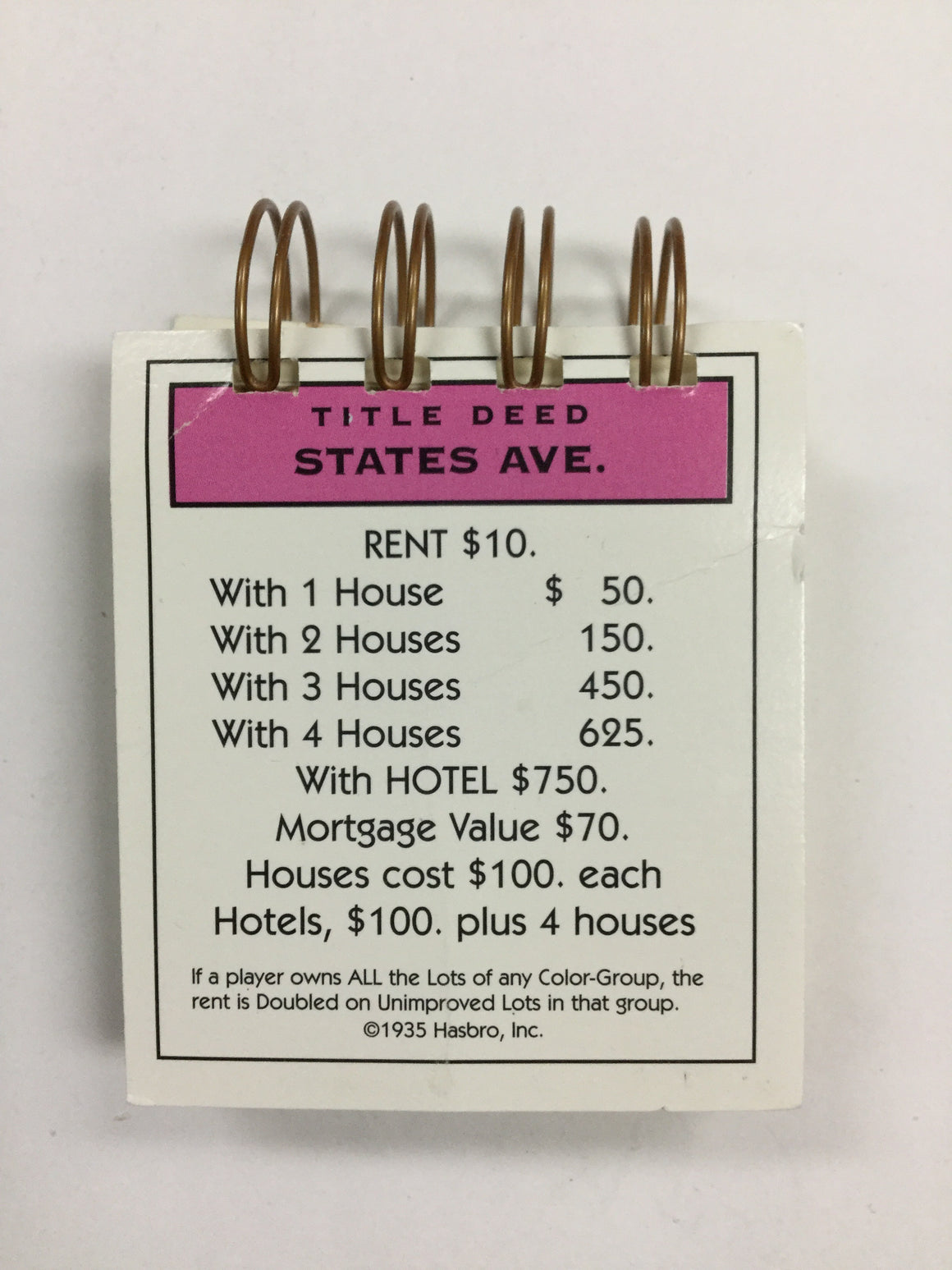 States Ave Monopoly Notepad-Red Barn Collections