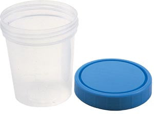 Amsino AMSure® Urine Specimen Containers, 4oz., with Lid, with Patient Label, Individually in Poly Pouch, Sterile Interior, AS340