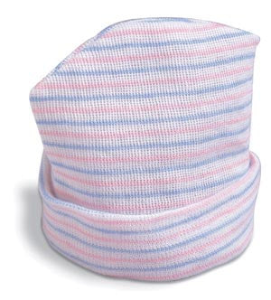 Covidien Argyle™ Baby Beanies, 2 Ply, Pink/Blue Stripes, 52000010