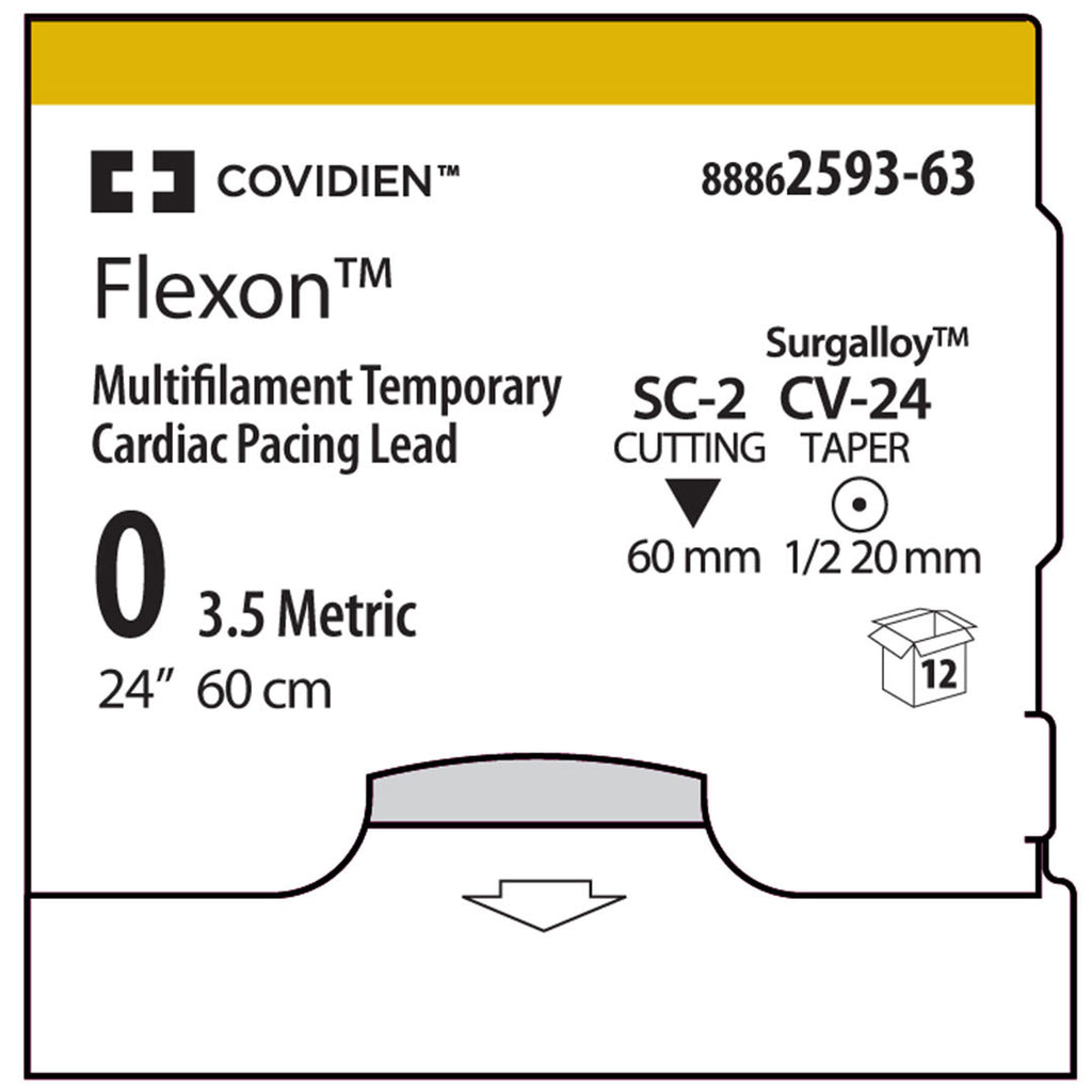 Covidien FLEXON™ Size 0 USP, 24 inches NONE on Double-Armed CV-24, SC-2 Needles, 8886259363