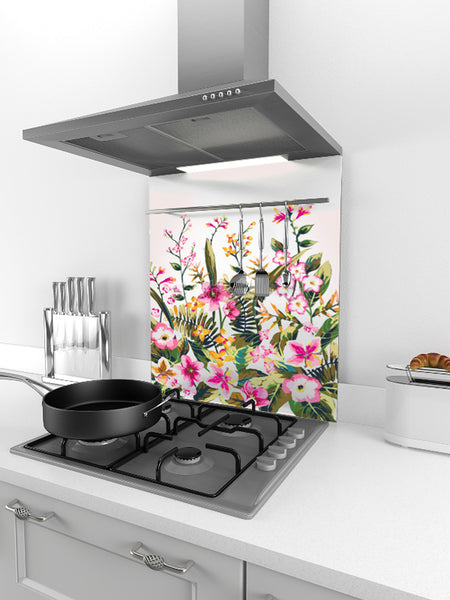 Floral theme hand drawn tropical flower blossom cluster for Tropical themed kitchen