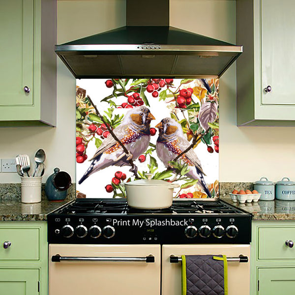Birds theme colourful bird flower and rowan any for Tropical themed kitchen