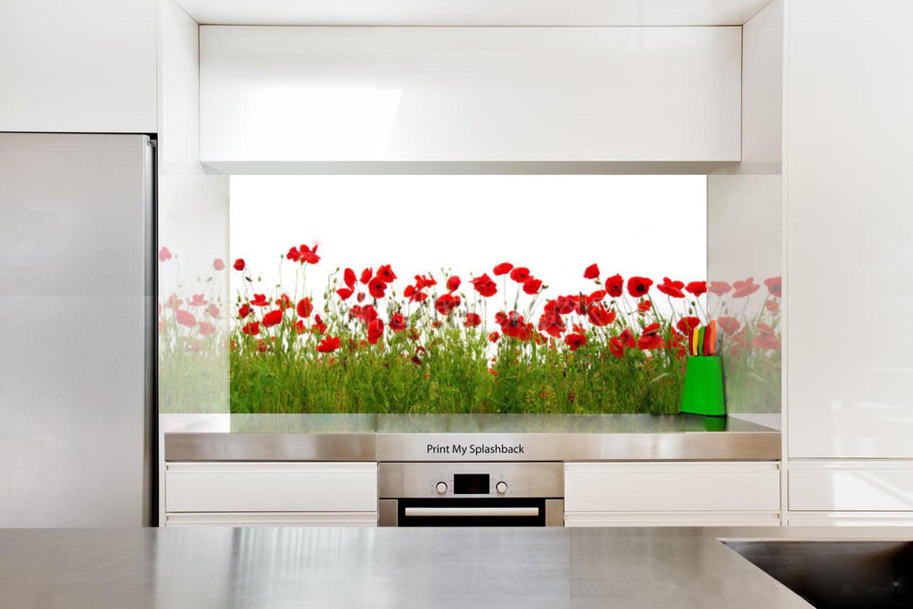 Digitally Printed Glass Splashback For Kitchen   Floral   Red Poppy In  Green Field, ...