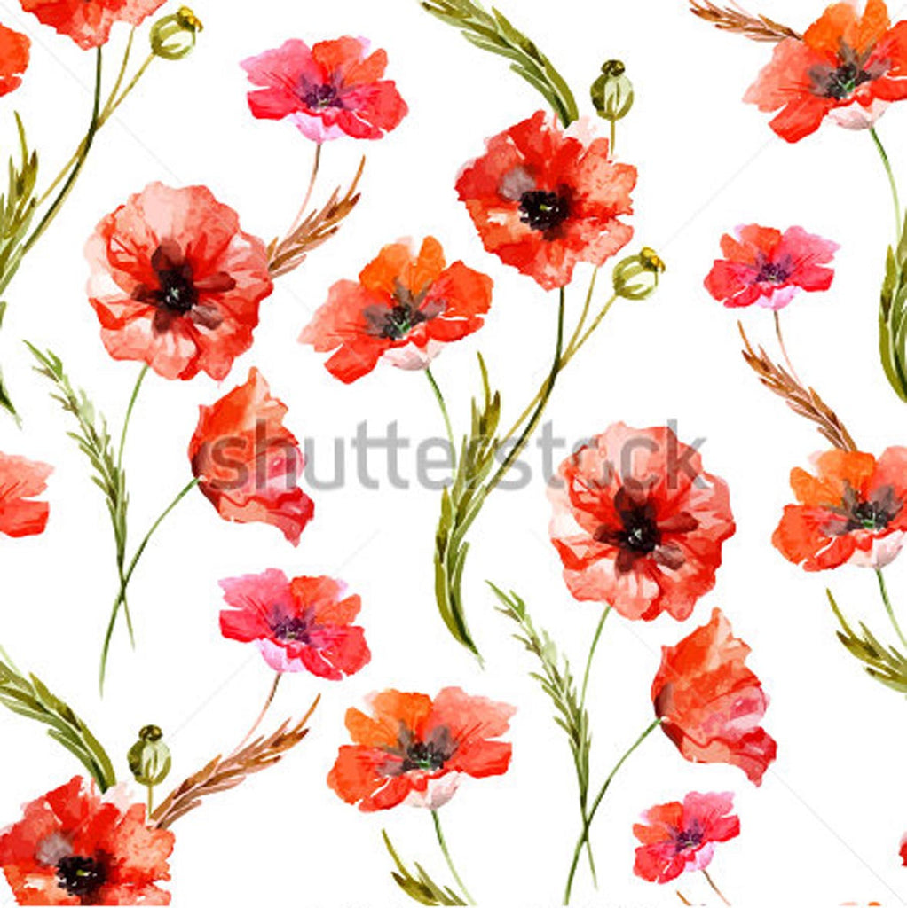 Floral Theme - Poppy Watercolor Flowers, [Any Orientation, Ref ...