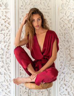 SYRAH Jumpsuit in Wine Silk