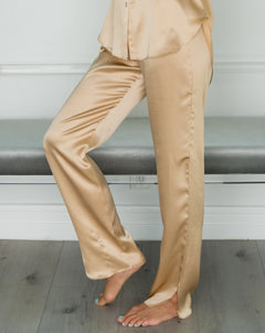 FRANKIE Silk Pant in Lustrous Gold
