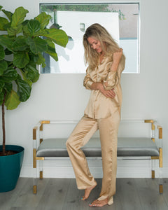 Frankie Pant in Lustrous Gold Silk