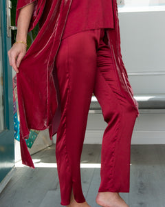 FRANKIE Pant in Wine Silk