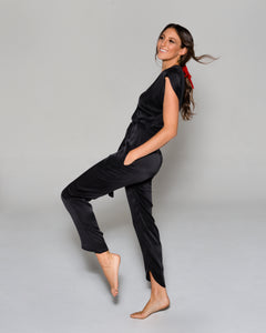 SYRAH Jumpsuit in Black Silk