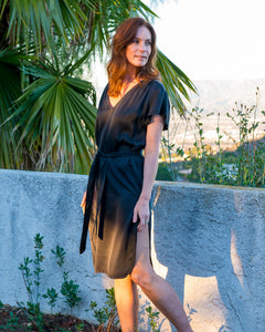Carmella Kaftan Dress in Black Silk