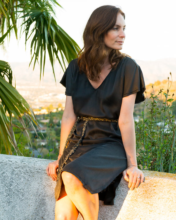 CARMELLA Kaftan in Black Silk