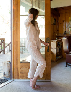 Phoebe Pant in Soft Pink Gingham Cotton