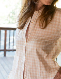 PHOEBE Shirt in Soft Pink Gingham