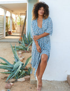 Cara Robe in Plumeti Blue