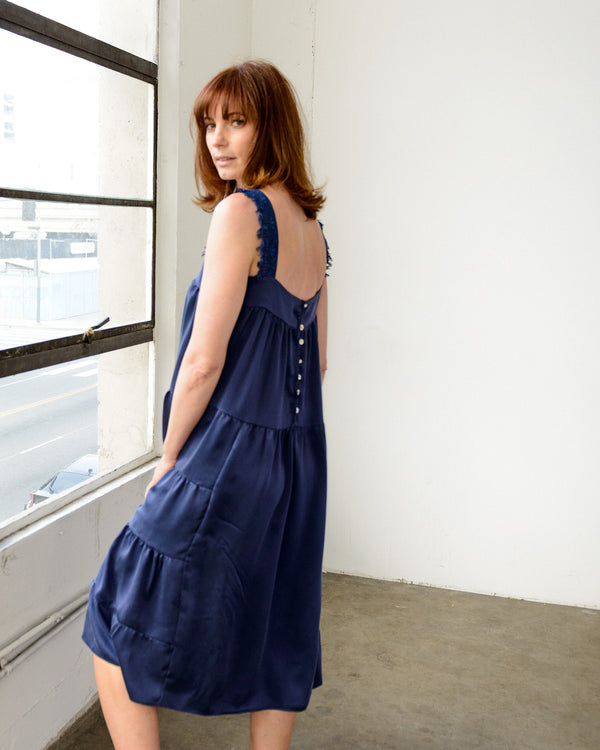 Dahlia Dress in Navy Sanded Charmeuse Silk