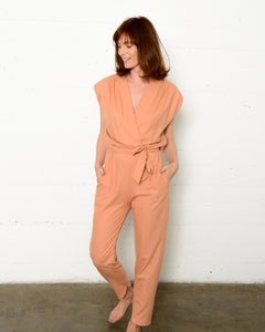 Syrah Jumpsuit in Coral Raw Silk