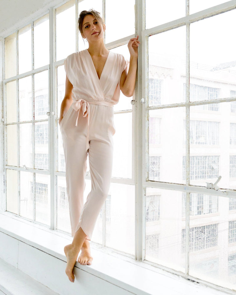 Syrah Jumpsuit in Pink Charmeuse Silk - Preorder