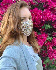 Coral Floral Silk Mask