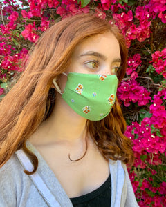 Kelly Green Kids Floral Mask