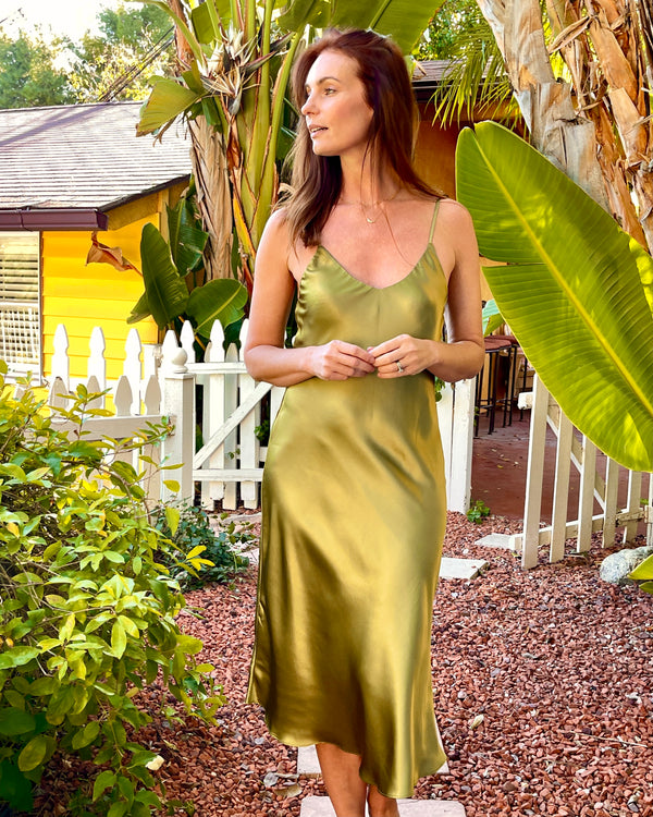 Ivy Silk Slip in Chartreuse