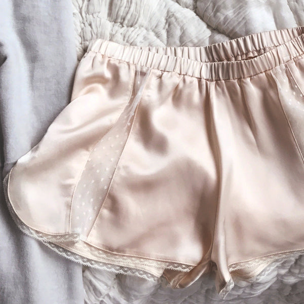 MARLOW Silk Shorts in Blush