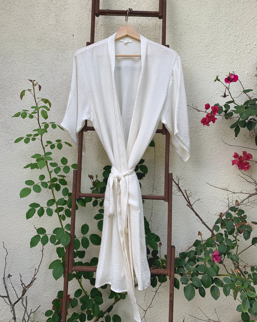 CARA Robe in White Pebble Silk - Size S