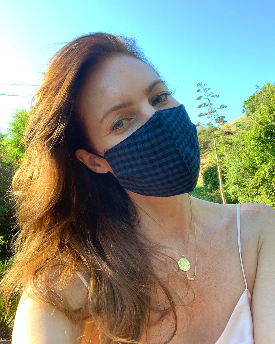 Blue & Black Gingham Mask