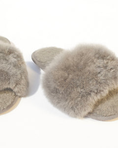 Alpaca Slipper Slides - Oyster